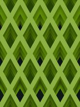Green Diamond Rhombus Geometry Seamless Pattern.