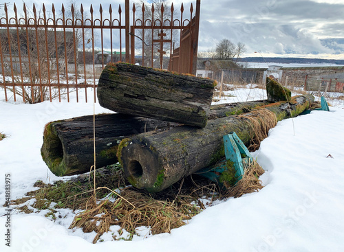 Preserved pipes of the Monastery water supply system of the 19th century on the Canvas Print