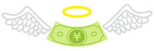 Yen Banknote With Angel Wings And Ring - Money Loss Concept Art
