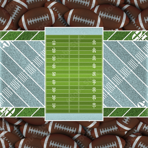 Sky Blue Football Field of Footballs