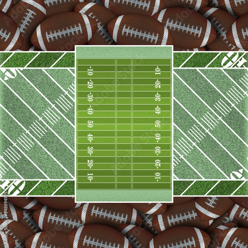 Spring Green Football Field of Footballs