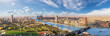canvas print picture - Cairo aerial panorama, the Nile and the downtown buildings, Egypt