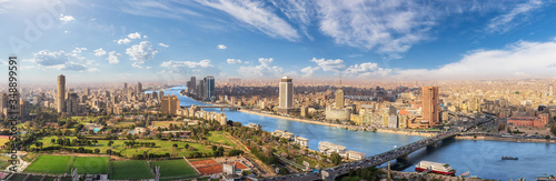 Photo Cairo aerial panorama, the Nile and the downtown buildings, Egypt