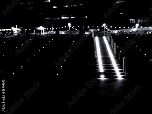 Canvas Print High Angle View Of Illuminated Footbridge