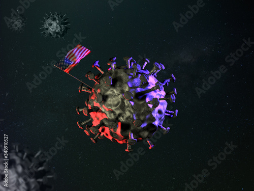 USA fighting and inventing vaccine against coronavirus CovID-19 with national flag set on virus molecule closeup as moon mission landing allusion Wallpaper Mural