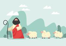 Draw Cartoon Jesus And Lambs A...