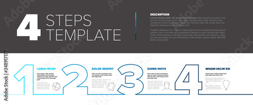 Fototapeta Progress steps thin line template obraz
