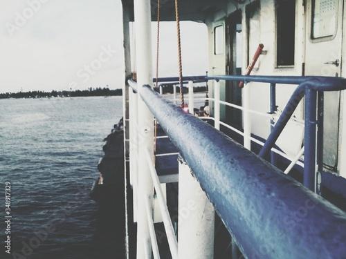 Fototapety, obrazy: Blue Railing On Boat In Sea
