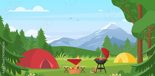 Obraz Cartoon flat tourist camp with picnic spot and tent among forest, mountain landscape view, sunny day. Summer camping vector illustration. Outdoor nature adventure, active tourism background - fototapety do salonu