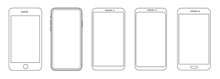 Trendy Smartphone Mockup Mobile Phones. Template For Infographics Or Presentation. Vector Illustration