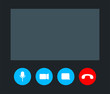 Video call screen template illustration, vector online conference.