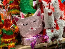 Colorful Pinatas Used In Birthdays And Mexican Celebrations, Filled With Candy And Sweets. Pinata Is A Famous Game From The South American Region (Mexico).