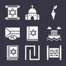 Set Of 9 Zionist Filled Icons