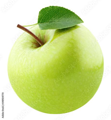 Leinwand Poster Single ripe green apple fruit with leaf isolated on white background