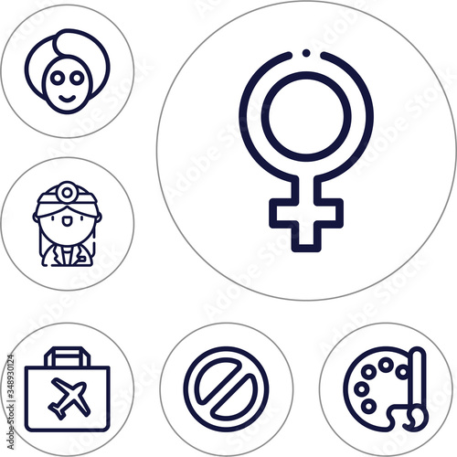 6 lineal editable icons set for abortion Wallpaper Mural