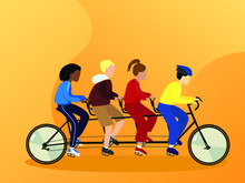 World Bike Day Concept Concept Vector Template. Design For Banner, Postcard Or Print. One World For All. Equality Of Races Is Negroid, Mongoloid, Australoid And Caucasoid. Quad Bike