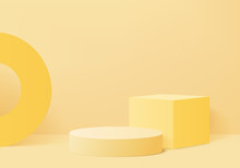 Minimal Podium And Scene With 3d Render Vector In Abstract Yellow Background Composition, 3d Illustration Mock Up Scene Geometry Shape Platform Forms For Product Display. Stage For Awards In Modern.