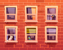 Pets In Windows, Cat, Dog And Parrot Sit On Windowsills Inside Of Room Looking Out. Brick Wall Facade Front View With Cute Kitten With Toy, Puppy And Bird. Domestic Animals Cartoon Vector Illustration