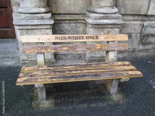 A bench in Cape Town during the apartheid period placed outside the High Court Civil Annex Canvas Print