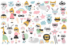 A Large Set Of Kids Superheroes Characters, Animals And Elements. Vector Illustration Clip Art.