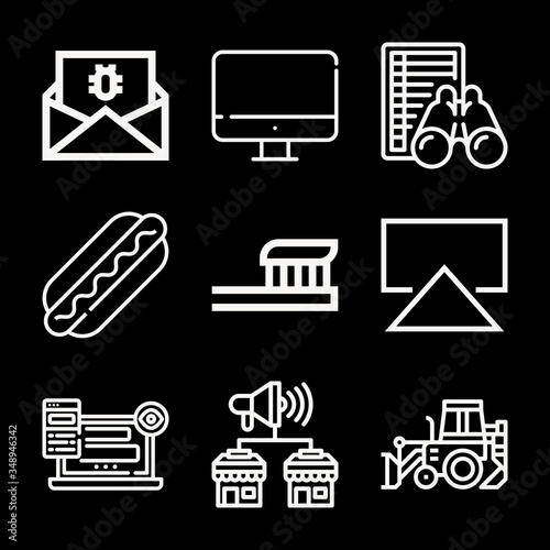 Television 9 lineal icon set Wallpaper Mural