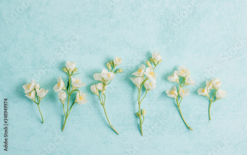 Photo Delicate pastel pattern with jasmine flowers. Flat lay. Top view