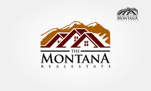 The Montana Real Estate Vector Logo Template. Logo For The Resort In The Mountains Or A Real Estate Agency Specializing In Cottage Settlements. Realty Construction Architecture Symbol.