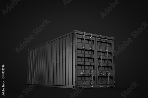 Carta da parati 3d rendering of closed black shipping container on black background