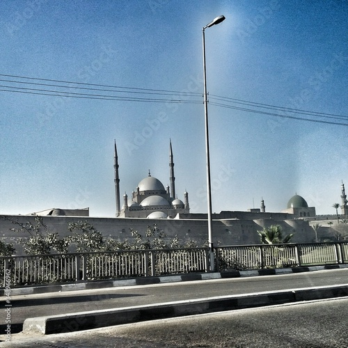 Mosque Of Muhammed Ali Against Sky Seen From Street Canvas Print