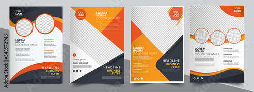 Obraz Brochure design, cover modern layout, annual report, poster, flyer in A4 with colorful triangles - fototapety do salonu