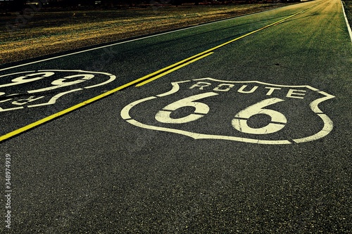 High Angle View Of Route 66 Marking On Highway Canvas Print