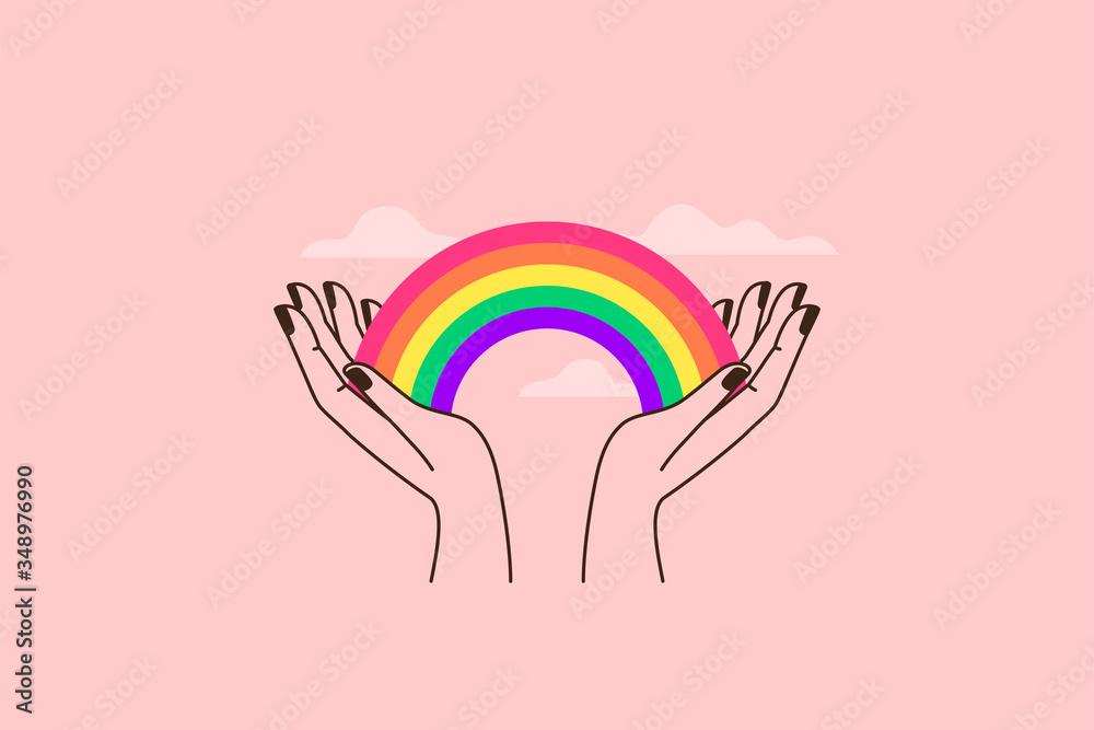 Fototapeta Vector illustration in flat simple linear style - hand and pride LGBT rainbow heart - lesbian gay bisexual transgender love