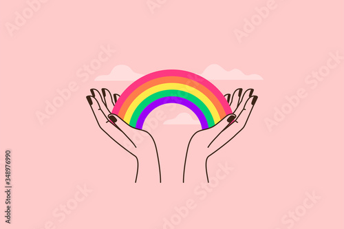 Fotomural Vector illustration in flat simple linear style - hand and pride LGBT rainbow he