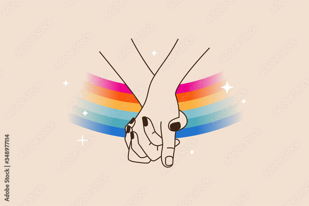 Fototapeta Vector illustration in flat simple linear style - hand and pride LGBT rainbow heart - lesbian gay bisexual transgender love concept