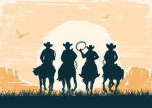Cowboys Silhouette Riding Horses At Sunset Landscape. Vintage Vector Prairie Desert With Sun And Canyon On Old Paper Texture Background