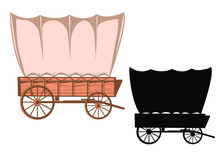 Wild West Covered Wagon Black Silhouette. Vector Western Color Illustration Isolated On White