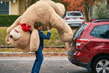 Wide Shot Of A Man Holding Oversized Teddy Bear Over His Shoulder.
