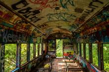 An Abandoned Train With Graffiti