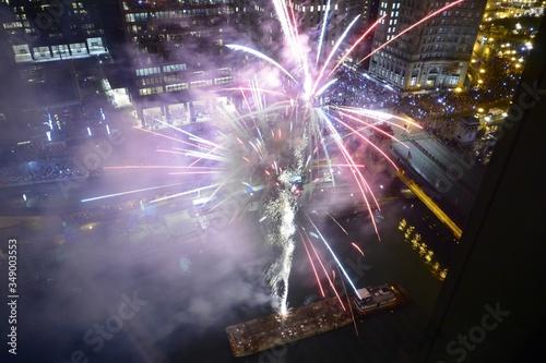 Fotografiet Fireworks In City