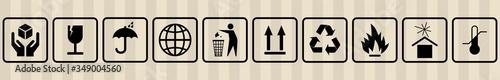 Fotografie, Obraz FRAGILE MARK label, box signs, shipping mark, package markings, stamp fragile label
