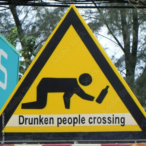Close-up Of Drunken People Crossing Sign Canvas-taulu