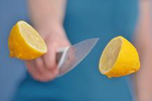 Yellow Lemon. Slicing Fruit Wi...