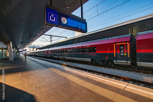 A Railjet train is preparing to depart from the station in Vienna, Austria Canvas Print