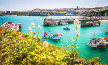 Boats In The Harbour Of  Newquay In Cornwall, UK