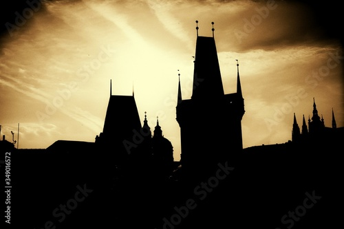 Canvastavla Low Angle View Of Silhouette Charles Bridge Against Sky During Sunset