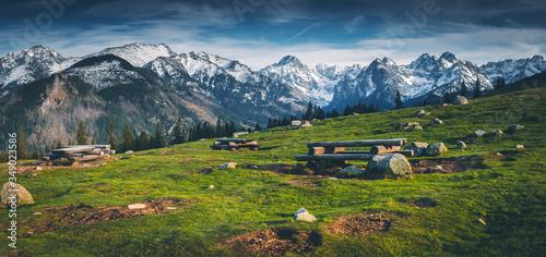 Panorama Tatr z Rusinowej Polany - Tatry Wysokie #349023586