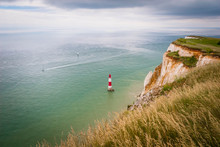 Beachy Head Lighthouse And Seven Sisters At The Coast Of Surrey, UK