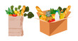 Box vector with different food in it. Delivery of the product during quarantine.Food delivery. Card-box from a supermarket with groceries.