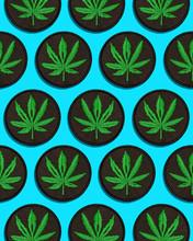 Cannabis Leaf Black Patch In G...
