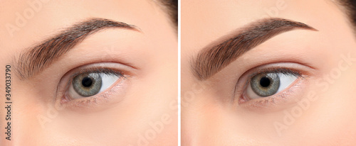 Obraz Woman before and after eyebrow correction, closeup. Banner design - fototapety do salonu